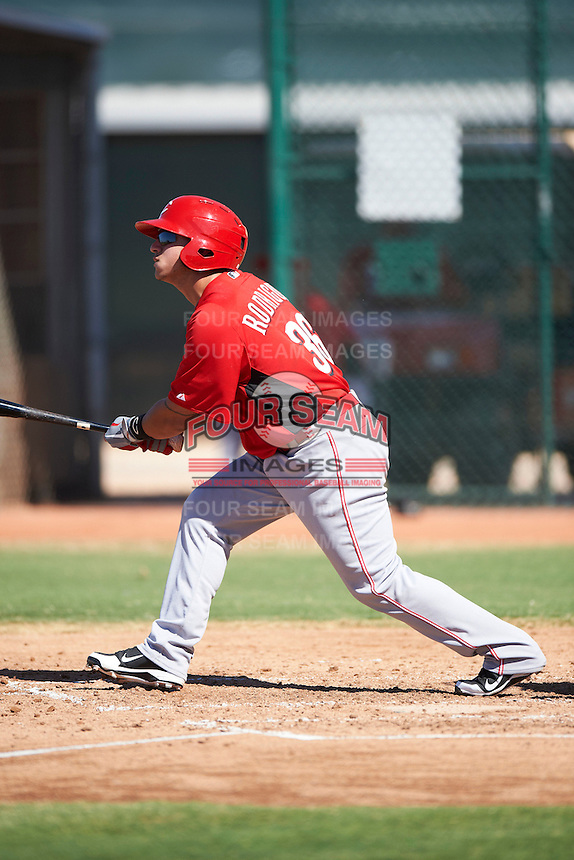 Cincinnati Reds minor league infielder Henry Rodriguez #36 during an instructional league game against the Cleveland Indians at the Goodyear Training Complex on October 8, 2012 in Goodyear, Arizona.  (Mike Janes/Four Seam Images)
