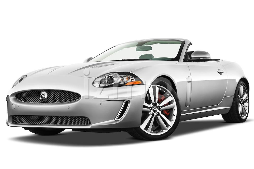 Low aggressive front three quarter view of a 2011 Jaguar XKR Convertible .