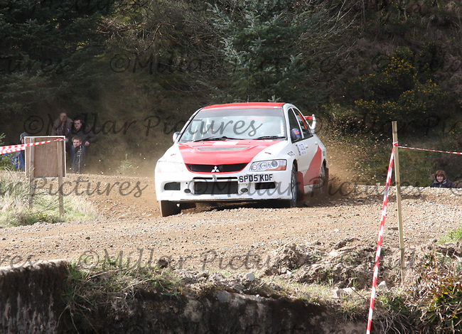 Malloch Nicoll / Jim Howie in the Mitsubishi Evolution 9 at Junction 3 on John Lawrie Group Special Stage 5 Fettersso 2 of the Coltel Granite City Rally 2012 which was based at the Thainstone Agricultural Centre, Inverurie.