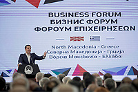 Pictured: Greek Prime Alexis Tsipras. Tuesday 02 April 2019<br /> Re: The Greek prime minister, Alexis Tsipras, has begun a historic visit to his newly named neighbour of North Macedonia, meeting North Macedonian counterpart Zoran Zaev, two months after brokering a landmark deal to end a row that spawned almost three decades of hostility between the two countries.