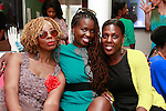 Singer/songwriter Somi (center) with friends, at the African Health Now - Fashion Fete event, at the Tracy Reese store on 641 Hudson Street, June 20, 2013.