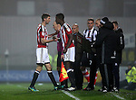 Joe Cummings of Sheffield Utd  replaces Chris Basham of Sheffield Utd during the Checkatrade Trophy match at Blundell Park Stadium, Grimsby. Picture date: November 9th, 2016. Pic Simon Bellis/Sportimage