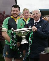 AIB Cup Final 2009. IRFU President John Lyons presents Stuart Lamb with the AIB Cup. Mandatory Credit - Mandatory Credit - John Dickson