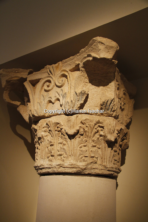 A corinthian capital from Herod's palace in Kypros, 1st century BC, on display at the Israel Museum