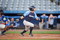 Trenton Thunder left fielder Mark Payton (11) at bat during the second game of a doubleheader against the Hartford Yard Goats on June 1, 2016 at Sen. Thomas J. Dodd Memorial Stadium in Norwich, Connecticut.  Trenton defeated Hartford 2-1.  (Mike Janes/Four Seam Images)