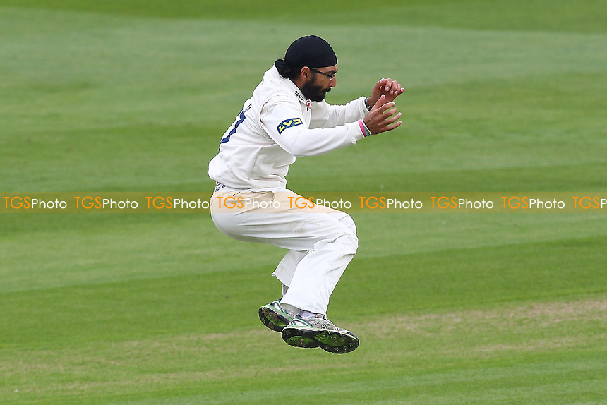Monty Panesar of Essex leaps to celebrate the wicket of Greg Smith - Essex CCC vs Leicestershire CCC - LV County Championship Division Two Cricket at the Ford County Ground, Chelmsford - 05/05/14 - MANDATORY CREDIT: Gavin Ellis/TGSPHOTO - Self billing applies where appropriate - 0845 094 6026 - contact@tgsphoto.co.uk - NO UNPAID USE
