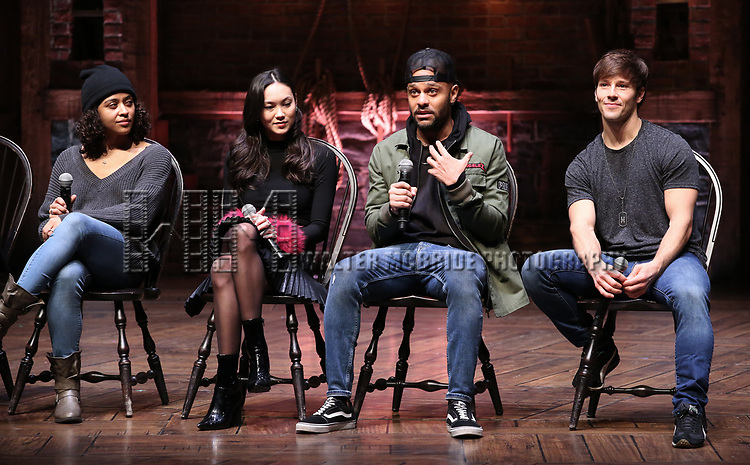 """Sabrina Imamura, Terrance Spencer and Thayne Jasperson during The Rockefeller Foundation and The Gilder Lehrman Institute of American History sponsored High School student #eduHam matinee performance of """"Hamilton"""" Q & A at the Richard Rodgers Theatre on December 5,, 2018 in New York City."""