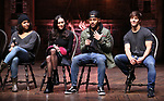 "Sabrina Imamura, Terrance Spencer and Thayne Jasperson during The Rockefeller Foundation and The Gilder Lehrman Institute of American History sponsored High School student #eduHam matinee performance of ""Hamilton"" Q & A at the Richard Rodgers Theatre on December 5,, 2018 in New York City."
