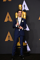 Damien Chazelle in the photo room at the 89th Annual Academy Awards at Dolby Theatre, Los Angeles, USA 26 February  2017<br /> Picture: Paul Smith/Featureflash/SilverHub 0208 004 5359 sales@silverhubmedia.com