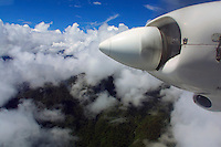 Enga Province. Flying over the Highlands, in a Britten Norman Islander operated by Trans Niugini Tours on the way from Tari to Karawari.