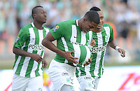 MEDELLÍN -COLOMBIA-31-01-2016: Orlando Berrio de Atlético Nacional celebra después de anotar un gol a Alianza Petrolera durante partido por la fecha 1 de la Liga Águila I 2016 jugado en el estadio Atanasio Girardot de la ciudad de Medellín./ Orlando Berrio payer of Atletico Nacional celebrates after scoring a goal to Alianza Petrolera during match for the date 1 of the Aguila League I 2016 played at Atanasio Girardot stadium in Medellin city. Photo: VizzorImage/León Monsalve/ Str