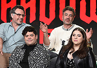 PASADENA, CA - FEBRUARY 4:  (L-R Top Row) Creator/EP/Showrunner/Writer/Director Jemaine Clement and EP/Director Taika Waititi, (L-R Bottom Row) Cast Members Harvey Gullen, and Beanie Feldstein during the WHAT WE DO IN THE SHADOWS panel for the 2019 FX Networks Television Critics Association Winter Press Tour at The Langham Huntington Hotel on February 4, 2019 in Pasadena, California. (Photo by Frank Micelotta/FX/PictureGroup)
