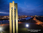 Carillon Bell Tower with view of Dayton and river in background. Taken after sunset.