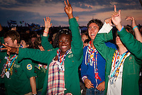 French scouts having party in the audience. Photo: André Jörg/ Scouterna