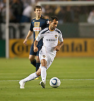 CARSON, CA – April 2, 2011: LA Galaxy midfielder Juninho (19) moves the ball across the field during the match between LA Galaxy and Philadelphia Union at the Home Depot Center, March 26, 2011 in Carson, California. Final score LA Galaxy 1, Philadelphia Union 0.