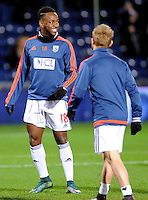 Saido Berahino of West Bromwich Albion smiles during the warm up before the Barclays Premier League match between West Bromwich Albion and Swansea City at The Hawthorns on the 2nd of February 2016