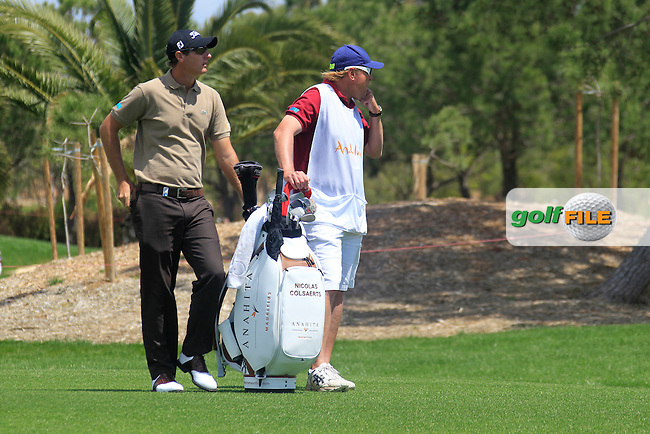 Nicolas Colsaerts (BEL) waits to play his 2nd shot on the 5th hole during Sunday's Final Round of the Open de Espana at Real Club de Golf de Sevilla, Seville, Spain, 6th May 2012 (Photo Eoin Clarke/www.golffile.ie)