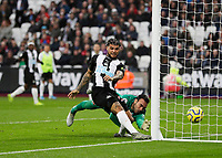 2nd November 2019; London Stadium, London, England; English Premier League Football, West Ham United versus Newcastle United; DeAndre Yedlin of Newcastle United shoots to score past Goalkeeper Roberto of West Ham United but was ruled no goal by VAR - Strictly Editorial Use Only. No use with unauthorized audio, video, data, fixture lists, club/league logos or 'live' services. Online in-match use limited to 120 images, no video emulation. No use in betting, games or single club/league/player publications