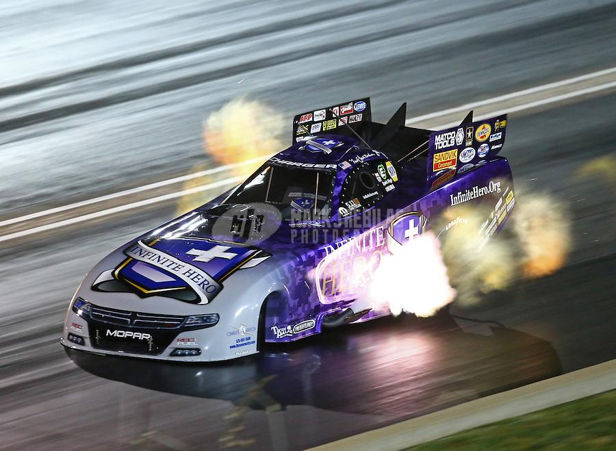 Jul 23, 2016; Morrison, CO, USA; NHRA funny car driver Jack Beckman during qualifying for the Mile High Nationals at Bandimere Speedway. Mandatory Credit: Mark J. Rebilas-USA TODAY Sports