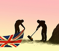 Man sweeping dirt under Union Jack carpet