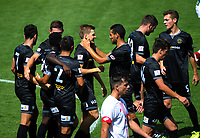 Action from the ISPS Handa Premiership football match between Team Wellington and Waitakere United at David Farrington Park in Wellington, New Zealand on Sunday, 18 February 2018. Photo: Dave Lintott / lintottphoto.co.nz