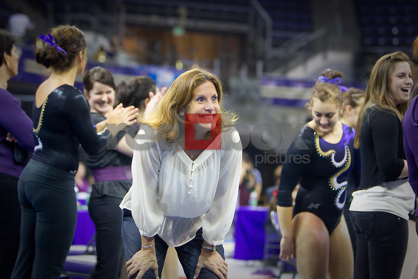 The University of Washington gymnastics team defeated Arizona State University at Alaska Airlines Arena on the campus of the UW in Seattle on March 2, 2012.(Photo by Scott Eklund/Red Box Pictures) Joanne Bowers