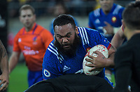 France's Uini Atonio takes the ball up during the Steinlager Series international rugby match between the New Zealand All Blacks and France at Westpac Stadium in Wellington, New Zealand on Saturday, 16 June 2018. Photo: Dave Lintott / lintottphoto.co.nz