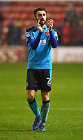 Fleetwood Town's Conor McLaughlin applauded the fans<br /> <br /> Photographer Dave Howarth/CameraSport<br /> <br /> The EFL Sky Bet League One - Walsall v Fleetwood Town - Tuesday 14th March 2017 - Banks's Stadium - Walsall<br /> <br /> World Copyright &copy; 2017 CameraSport. All rights reserved. 43 Linden Ave. Countesthorpe. Leicester. England. LE8 5PG - Tel: +44 (0) 116 277 4147 - admin@camerasport.com - www.camerasport.com