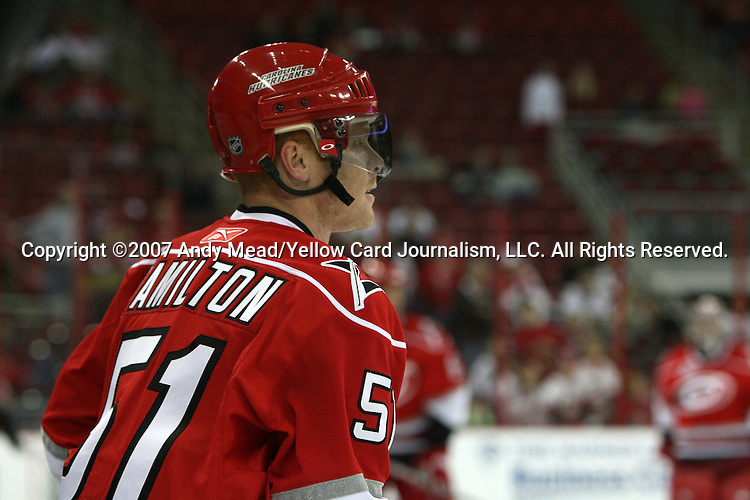 12 December 2007: Carolina's Jeff Hamilton. The Ottawa Senators defeated the Carolina Hurricanes 6-0 at the RBC Center in Raleigh, North Carolina in a 2007-08 National Hockey League regular season game.