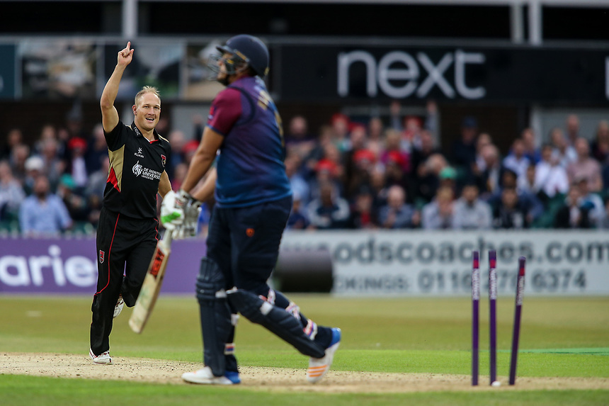 Leicestershire's Dieter Klein celebrates taking the wicket of Northamptonshire's Rory Kleinveldt <br /> <br /> Photographer Andrew Kearns/CameraSport<br /> <br /> NatWest T20 Blast - Leicestershire Foxes vs Northamptonshire Steelbacks - Friday 21st July 2017 - Grace Road Leicester <br /> <br /> World Copyright &copy; 2017 CameraSport. All rights reserved. 43 Linden Ave. Countesthorpe. Leicester. England. LE8 5PG - Tel: +44 (0) 116 277 4147 - admin@camerasport.com - www.camerasport.com