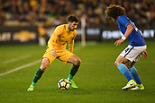 June 13th 2017, Melbourne Cricket Ground, Melbourne, Australia; International Football Friendly; Brazil versus Australia; Mathew Leckie of Australia takes on David Luiz of Brazil