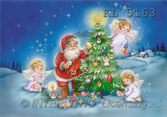 Interlitho, Michele, CHRISTMAS SANTA, SNOWMAN, paintings, santa, 3 angel, tree(KL5163,#X#) Weihnachtsmänner, Schneemänner, Weihnachen, Papá Noel, muñecos de nieve, Navidad, illustrations, pinturas