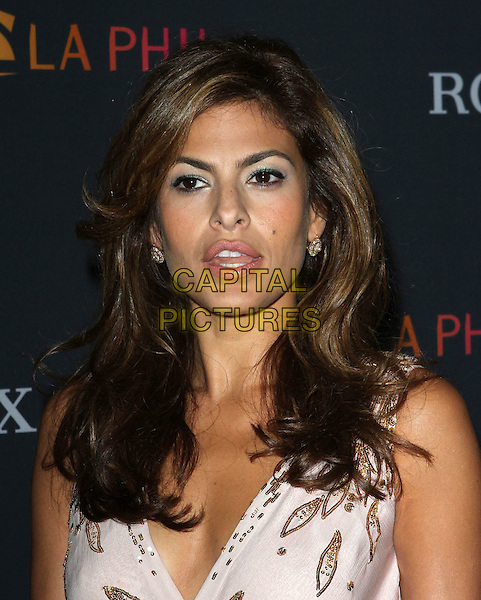 EVA MENDES.Los Angeles Philharmonic 2010/2011 Season Opening Night Gala held at The Disney Concert Hall.  .October 7th, 2010.headshot portrait pink gold silver beads beaded mouth open.CAP/ADM/KB.©Kevan Brooks/AdMedia/Capital Pictures.