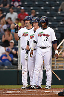 Fort Myers Miracle first baseman Mike Gonzales (32), outfielder Max Kepler (23), and outfielder Adam Brett Walker II (12) wait for outfielder Travis Harrison (17 - not pictured) after hitting a three run home run scoring Gonzales and Walker during a game against the St. Lucie Mets on April 18, 2014 at Hammond Stadium in Fort Myers, Florida.  St. Lucie defeated Fort Myers 15-9.  (Mike Janes/Four Seam Images)