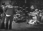 Police talking to a man. who sat himself on a Brooklyn Street corner, with what he described as a bomb strapped to his body. It was later determined that the it wasn't a functional bomb. Photo by Jim Peppler. Copyright/Jim Peppler/.