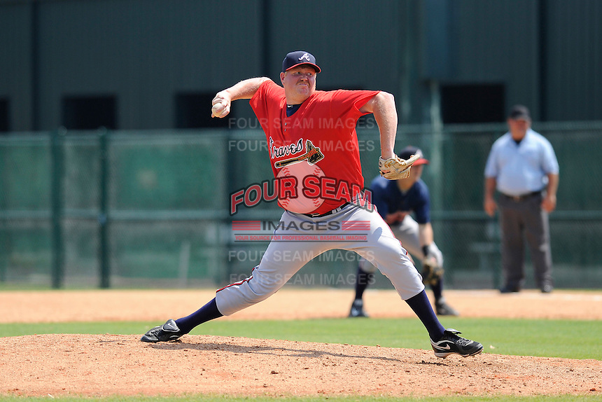 Pitcher Todd Coffey (23) of the Atlanta Braves farm system in a Minor League Spring Training intrasquad game on Wednesday, March 18, 2015, at the ESPN Wide World of Sports Complex in Lake Buena Vista, Florida. (Tom Priddy/Four Seam Images)