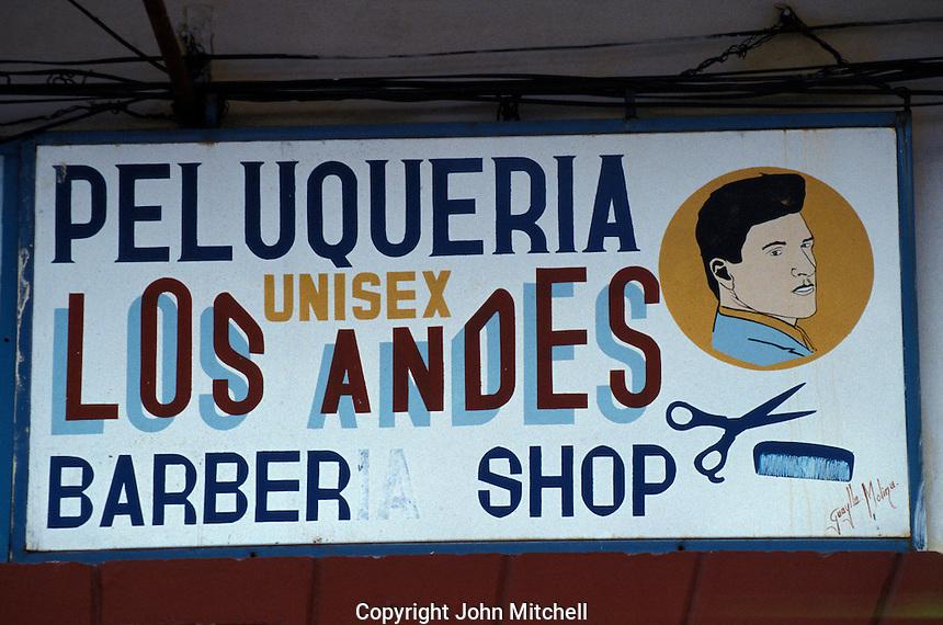 Barber Shop sign in Riobamba, Ecuador
