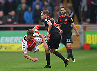 Fleetwood Town's Harrison Biggins is fouled by  Sunderland's Lee Cattermole<br /> <br /> Photographer Dave Howarth/CameraSport<br /> <br /> The EFL Sky Bet League One - Fleetwood Town v Sunderland - Tuesday 30th April 2019 - Highbury Stadium - Fleetwood<br /> <br /> World Copyright © 2019 CameraSport. All rights reserved. 43 Linden Ave. Countesthorpe. Leicester. England. LE8 5PG - Tel: +44 (0) 116 277 4147 - admin@camerasport.com - www.camerasport.com