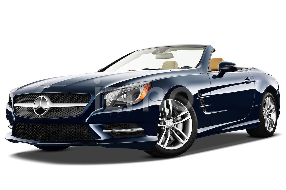 Low aggressive front three quarter view of a 2013 Mercedes SL Class.