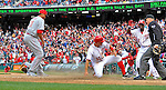 12 April 2012: Washington Nationals third baseman Ryan Zimmerman slides home with the game-winning run in the 10th inning on a wild pitch by Alfredo Simon of the Cincinnati Reds at Nationals Park in Washington, DC. The Nationals defeated the Reds 3-2 in 10 innings to take the first game of their 4-game series. Mandatory Credit: Ed Wolfstein Photo