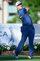 Jon Rahm (ESP) watches his tee shot on 11 during the round 1 of the Dean &amp; Deluca Invitational, at The Colonial, Ft. Worth, Texas, USA. 5/25/2017.<br /> Picture: Golffile | Ken Murray<br /> <br /> <br /> All photo usage must carry mandatory copyright credit (&copy; Golffile | Ken Murray)