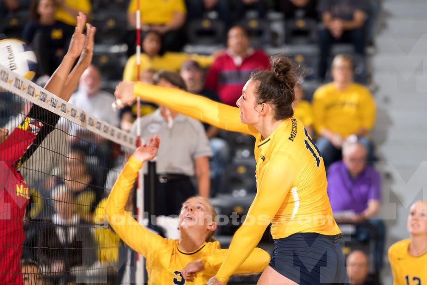 The University of Michigan volleyball team defeats Maryland, 3-1, at Cliff Keen Arena in Ann Arbor, MI on September 30, 2017.