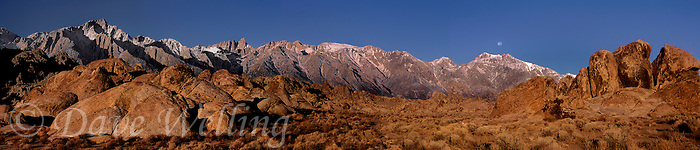 902000035 panoramic view of a moonset over the eastern sierras and the magnificent granite boulders of the alabama hills in kern county california