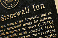 NEW YORK, NY - JUNE 18: The sign of the historical landmark Tavern The Stonewall Inn is pictured on June 18, 2019 in New York. The Stonewall riots were a series of violent demonstrations by members of the gay (LGBT) community against a police raid starting June 28, 1969, at the Stonewall Inn at the Greenwich Village neighborhood of Manhattan, . (Photo by STRKB/VIEWpress)