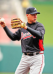 31 March 2011: Atlanta Braves third baseman Chipper Jones warms up prior to the Opening Day festivities and game against the Washington Nationals at Nationals Park in Washington, District of Columbia. The Braves shut out the Nationals 2-0 to open the 2011 Major League Baseball season. Mandatory Credit: Ed Wolfstein Photo