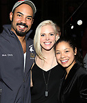 "Nicholas Christopher, Katie Rose Clarke and Eva Noblezada during The Opening Night Actors' Equity Gypsy Robe Ceremony honoring Catherine Ricafort for the New Broadway Production of  ""Miss Saigon""  at the Broadway Theatre on March 23, 2017 in New York City"