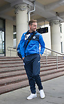 FK Trakai v St Johnstone…05.07.17… Europa League 1st Qualifying Round 2nd Leg<br />St Johnstone striker Steven MacLean leaves the airport after landing in Vilnius, Lithuania<br />Picture by Graeme Hart.<br />Copyright Perthshire Picture Agency<br />Tel: 01738 623350  Mobile: 07990 594431