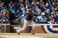 Cleveland Indians Jose Ramirez (11) bats in the fifth inning during Game 5 of the Major League Baseball World Series against the Chicago Cubs on October 30, 2016 at Wrigley Field in Chicago, Illinois.  (Mike Janes/Four Seam Images)