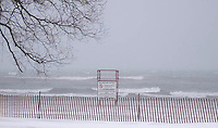 Lifeguard chair during a snow storm woodbine beach toronto ontario canada north america