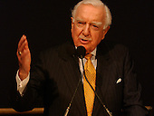Washington, DC - (FILE) -- Legendary CBS newsman Walter Cronkite speaks in February 2004 at a ceremony at the National Air and Space Museum in Washington honoring the fallen astronauts of the STS-107 Columbia mission. .Mandatory Credit: Bill Ingalls - NASA via CNP.